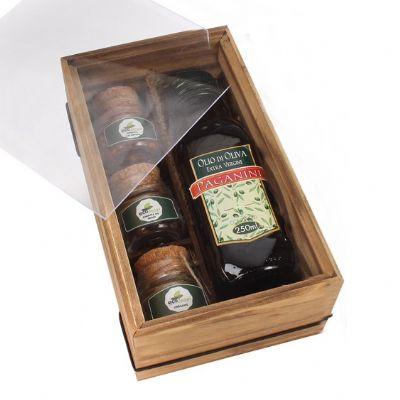 Kit em caixa de madeira com azeite e temperos a escolher - Design Promo