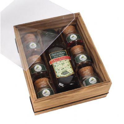 design-promo - Kit tempero com 1 garrafa de azeite de 250 ml e 6 potes com tempero