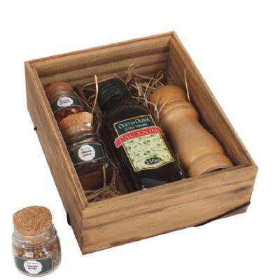 Kit com 3 temperos em caixa de madeira envelhecida com moedor - Design Promo