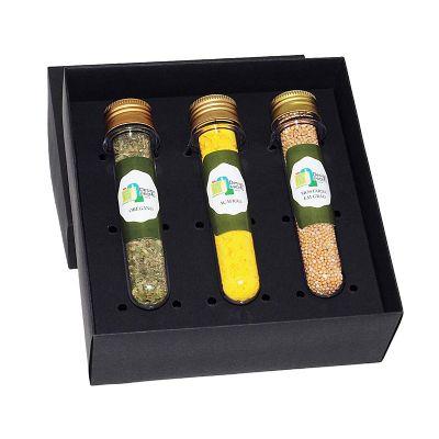 Kit com 3 tubetes de vidro com temperos e pimentas - Design Promo