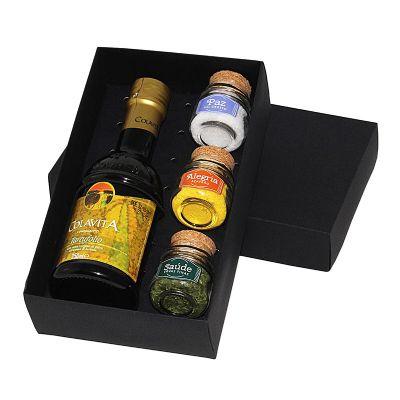 design-promo - Kit azeite em caixa de papel duplex com azeite, potes de vidro com temperos e pimentas