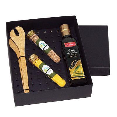 Kit azeite com 2 tubetes de acrílico com temperos e pimentas - Design Promo