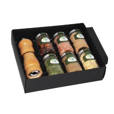 Kit tempero com 6 potes de vidro e moedor personalizado - Design Promo