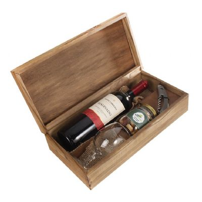 Kit com uma garrafa de vinho 750 ml, 1 taça de vidro e 1 pote com petisco - Design Promo