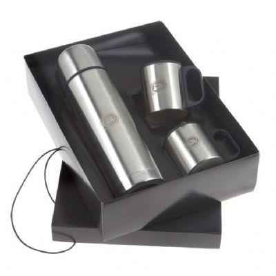 Kit com garrafa térmica e canecas - Design Promo