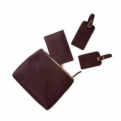 Kit de viagem com 4 peças em couro natural - Ateliê Lapin