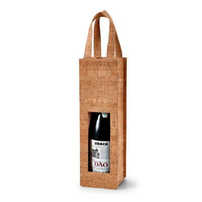 First Class - Sacola de cortiça para 1 garrafa de vinho.