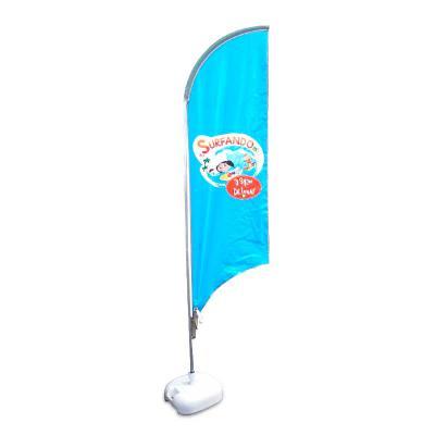 Promotendas - Bandeira wind banner 2m, feita em lona PVC material resistente com base bombona água 18 litros.