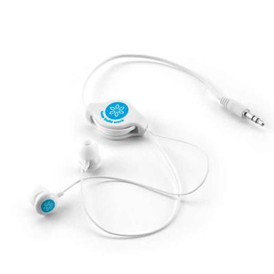 - Fone de ouvido com cabo retrátil de 80 cm, acondicionado em bolsa de non-woven formato Bolsa: 60 x 105 mm - Personalização silk