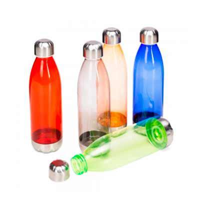 Splash7 Brindes - Squeeze plástico 700ml formato garrafa. Corpo transparente colorido, possui tampa e base em alumínio.  Peso aproximado (g):  88  O peso e as medidas p...