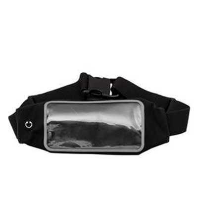 galeria-de-ideias - Pochete em neoprene com visor plástico transparente. Com saída para fone de ouvido na parte frontal, cinta elástica ajustável, possui ziper na parte t...