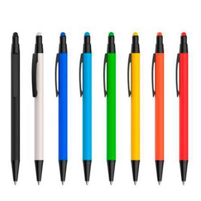 Galeria de Ideias - Caneta esferográfica emborrachada em metal, com ponta touch. Escrita em azul. Peças nas cores amarelo, azul, azul claro, laranja, branco, preto, verde...