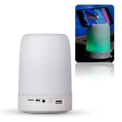 - Caixa de som multimídia com porta caneta, suporte de celular e luminária com 11 modos de luzes. De plástico na cor branco fosco, com bluetooth,  entra...
