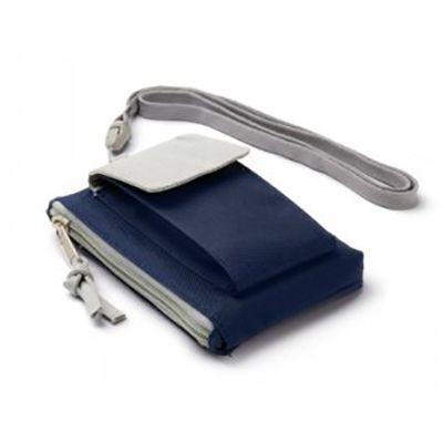 Galeria de Ideias - Bolsa chaveiro multiuso em poliéster 600D com bolso para celular e cordão de pescoço.
