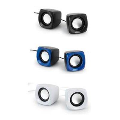 - Caixa de som, com ligação stereo 3,5 mm, ligação USB e controle de volume. Com 3W/4Ω. Peças nas cores preta, vermelha, branco ou azul royal. Medi...
