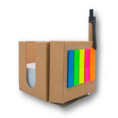 galeria-de-ideias - Bloco de anotações cubo com caneta, peças em material ecológico.