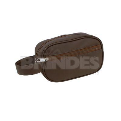 Shopping Brindes - Necessaire em couro sintético com bolso frontal -21 X 13 X 09 CM
