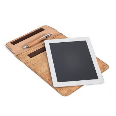 Bishop Gifts Personalizados - Bolsa para tablet. Cortiça e couro sintético. Para tablet 10.1''. Fornecido em embalagem non-woven. Esferográfica e tablet não inclusos. 220 x 270 mm...