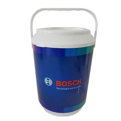Cooler promocional com capacidade para 10 latas, com alça fixa e isolante térmico. Gravação da lo...