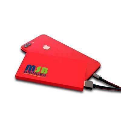 msb-brindes-personalizados - Carregador Power Bank emborrachado Slim-Capacidade Nominal: 3.7V - 6.200 mAh  Conexões: Entrada Micro USB e Saídas USB • Capacidade Nominal: 3.7V - 6....