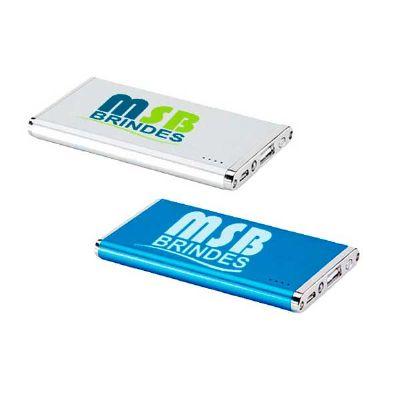 msb-brindes-personalizados - Carregador power bank bateria portátil slim alumínio