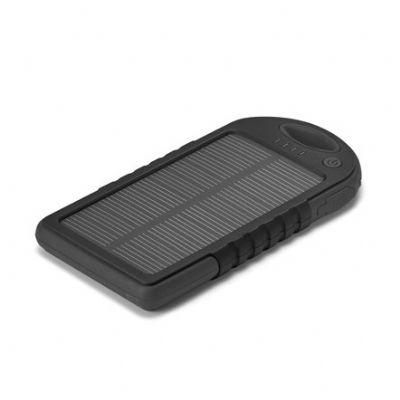 Mania de brinde - Bateria portátil solar. ABS. Com painel solar e LED. Bateria de lítio. Capacidade: 2000 mAh. Com entrada/saída 5V/1A. Incluso cabo USB/micro-USB para...