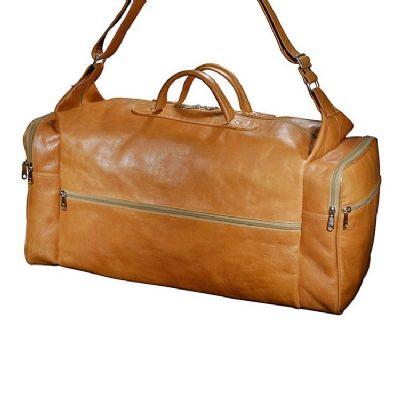 Leve Couro - Bolsa de viagem com bolsos laterais e alça de ombro