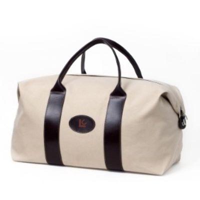 Bolsa de viagem de lona com detalhes em couro e/ou sintético