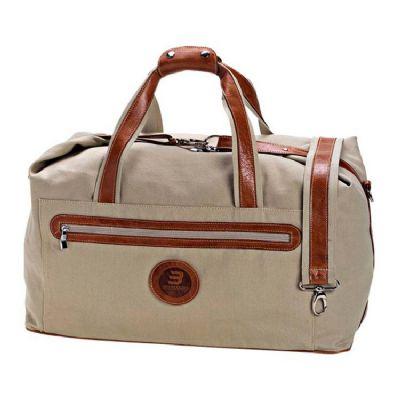 Leve Couro - Bolsa de viagem em lona com detalhes em couro