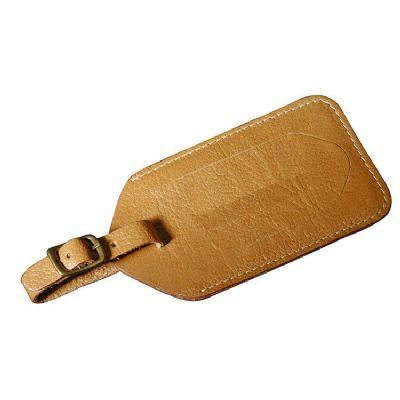 Leve Couro - Identificador de mala confeccionado em couro ou sintético. Formato: 13cm x 7cm.