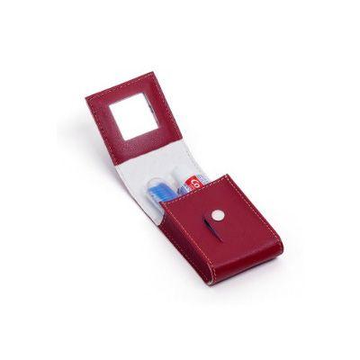 Leve Couro - Kit bucal com espelho e suporte para creme e escova dental.