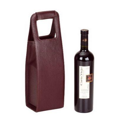 Leve Couro - Porta vinho ou garrafa, confeccionado em couro ou sintético.