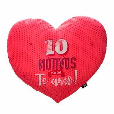 Almofada coração - 10 motivos porque te amo