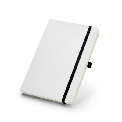 Lira Brindes - Caderno capa dura, com elástico e porta caneta. Possui 80 folhas lisas na cor marfim.