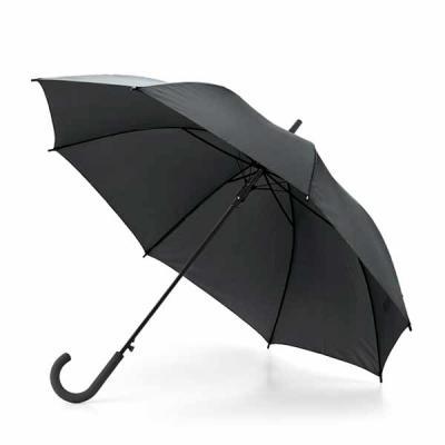 Guarda-chuva em material Poliéster 190T. Pegada revestida em borracha. Abertura automática.