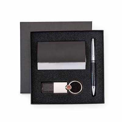 Kit Executivo Com Caneta, Chaveiro e Porta Cartão Personalizado