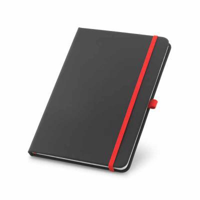 lira-brindes - Caderno capa dura em material couro sintético. Possui porta caneta colorido e 80 folhas lisas. Disponível em dois tamanhos.