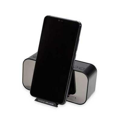 Caixa De Som Com Relógio e Suporte Para Celular Personalizado