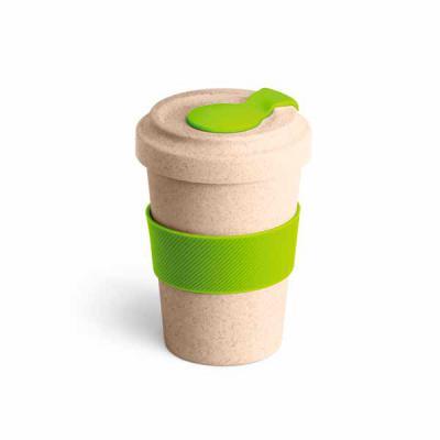 Copo em fibra de bambu e plástico de capacidade aproximada 500 ml. Com pegador de silicone e tampa. - Lira Brindes