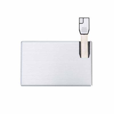 Pen card 4GB de alumínio. Cartão slim frente e verso liso, basta empurrar o slot para utilização. - Lira Brindes