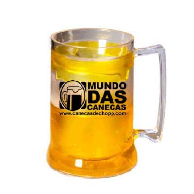 Caneca de Chopp Gel Amarelo 400ml Acrílico
