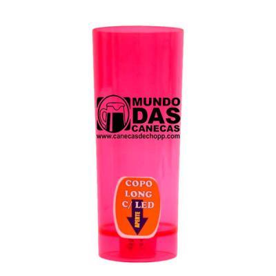 O Mundo das canecas - Copo Vermelho Long Drink Com LED 350ml Acrílico