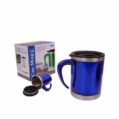 Arena Brindes - Caneca personalizada em inox com tampa, alça em plástico anti térmico. Opções de Cores: Azul, Branco, Verde e Vermelho.  Medidas: 11,5 x 11,5 x 8,5 cm