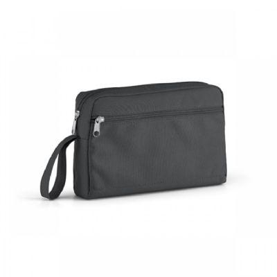 Arena Brindes - Bolsa multiuso personalizada em couro, com dois bolsos. Opções de cores: azul marinho e preto.