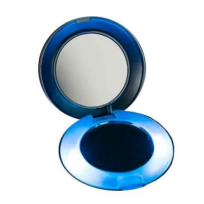 Ideal para retocar a maquiagem esse espelho plástico possui aumento e luz. - Thap  Brindes