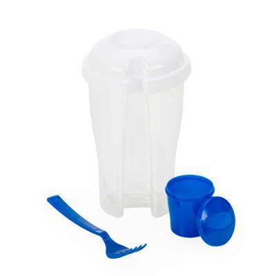 Copo Salada Personalizado. Capacidade 850ml com garfo e compartimento para molho. Copo plástico transparente com três detalhes ovais. - Thap  Brindes