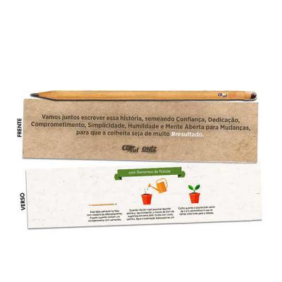 Lápis semente personalizado. Ao terminar de usar, basta enterrá-lo e regalo para que germine. Diversas sementes disponíveis. - Thap  Brindes