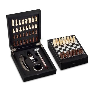 HR Brindes Promocionais - Kit vinho xadrez com 4 peças