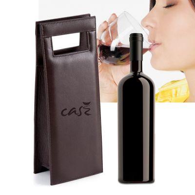HR Brindes Promocionais - Porta vinho com alça de mão