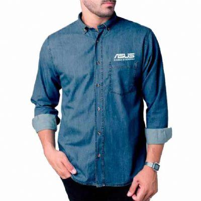 fit-promocionais - Camisa social jeans